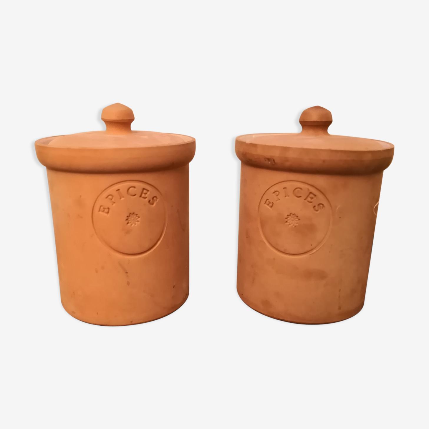 Spice pots, terracotta