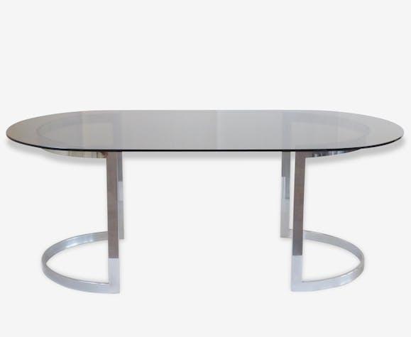 roche bobois grande magnifique table chrome verre fum seventies space