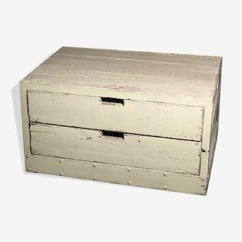 Meuble de rangement table basse en bois et fer vert pastel patiné