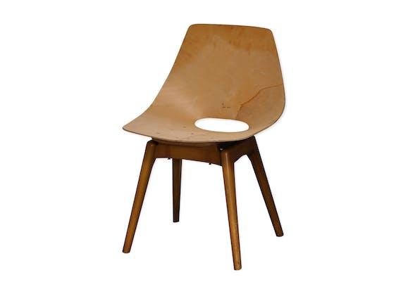 chaise amsterdam de pierre guariche bois mat riau bois couleur design 3wselzg. Black Bedroom Furniture Sets. Home Design Ideas