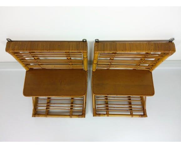 2 etagères murales vintage rotin bambou 1960