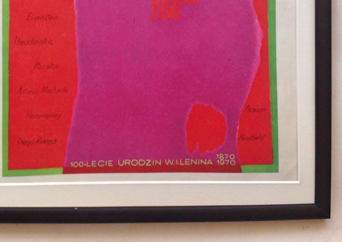 Affiche polonaise encadrée de Lénine par l'artiste polonais Jozef Mroszczak, 1970