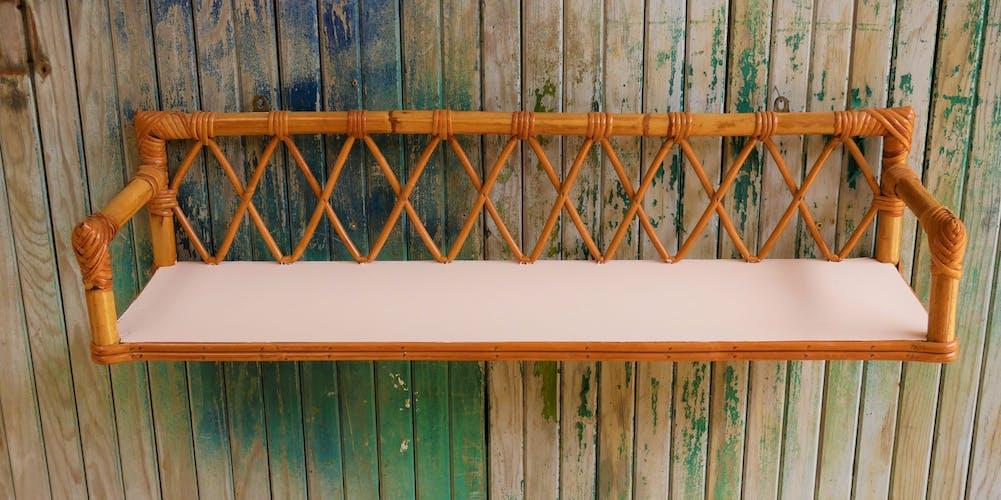 Vintage rattan wall shelf