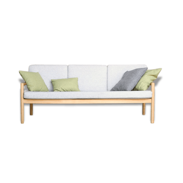 canap 3 places vintage en bois massif clair r nov avec tissu gris chin bois mat riau. Black Bedroom Furniture Sets. Home Design Ideas