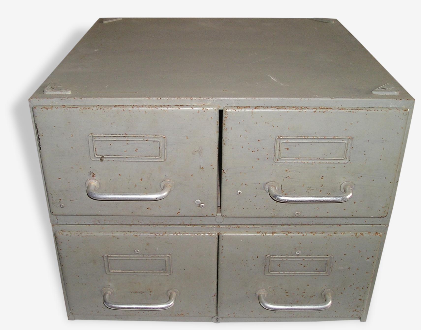 Ensemble de 2 casiers métalliques Flambo à 2 tiroirs, indus
