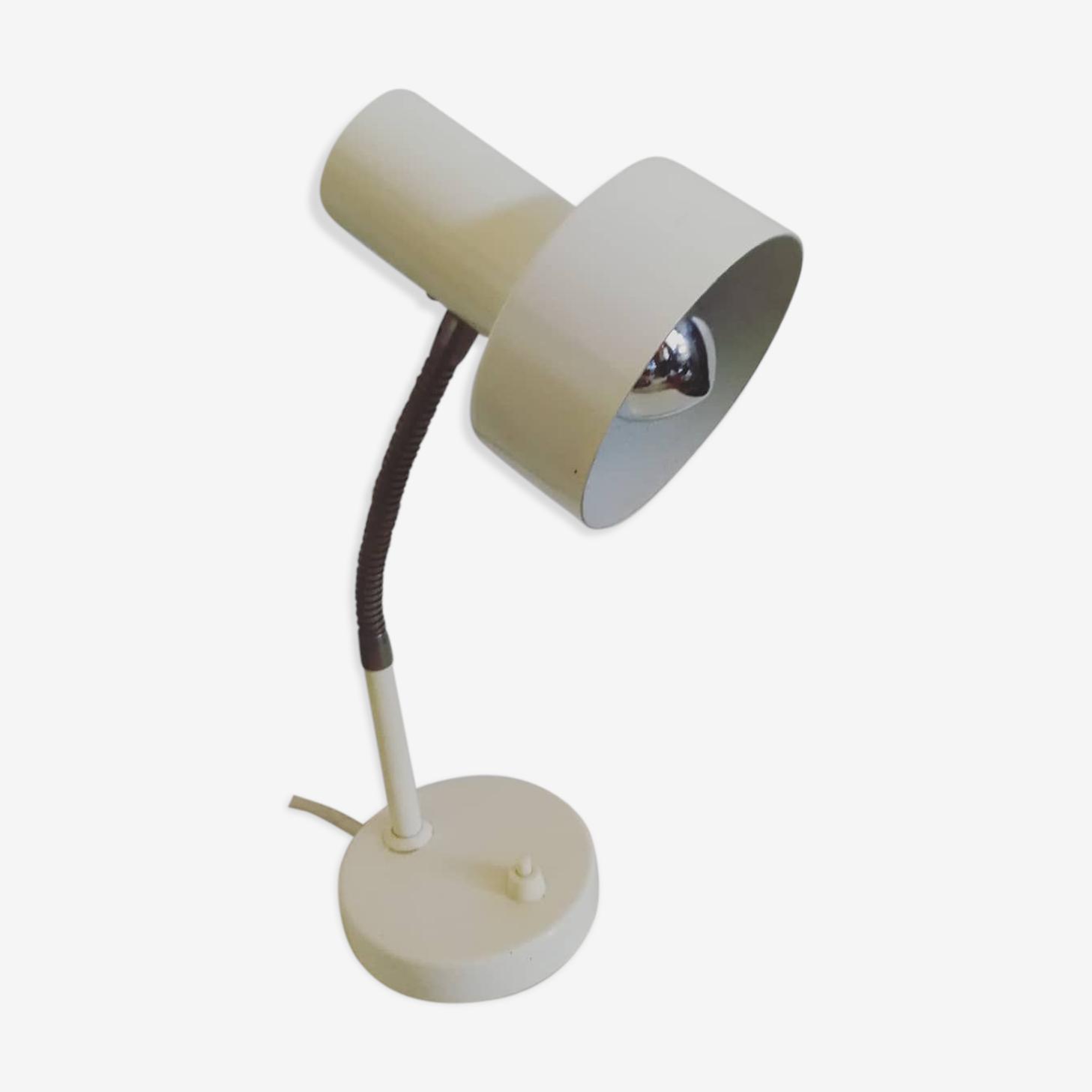 Lampe bureau flexible design années 70 métal blanc