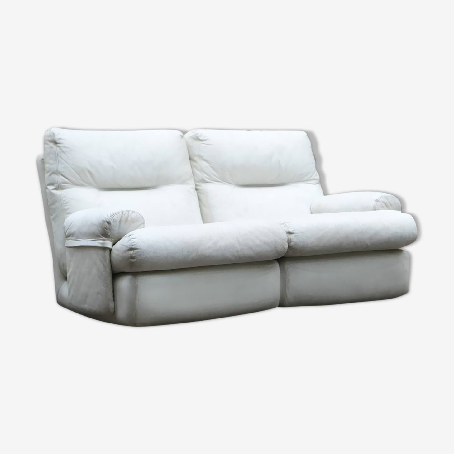 Ligne Roset white leather sofa