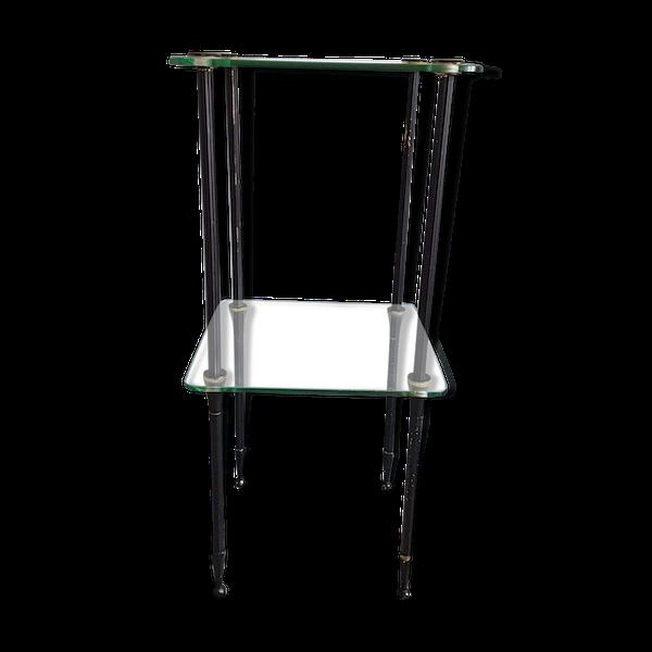 Table vintage 2 plateaux en verre structure métal démontable