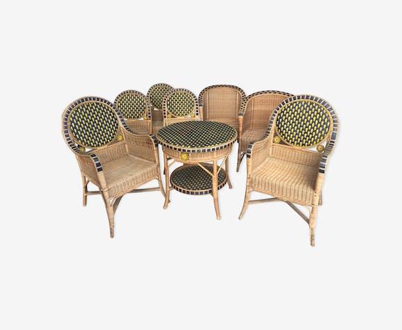 Salon en rotin vintage mobilier de jardin 1930 - rotin et osier ...