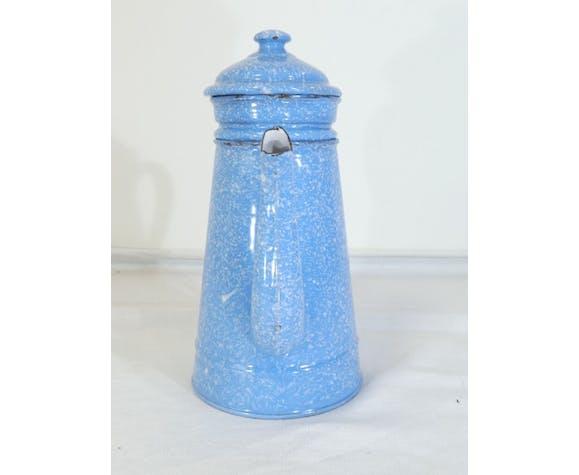 Cafetière émaillée bleu moucheté blanc