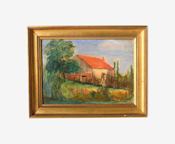 Peinture d'une maison de campagne, daté 24 avril 17, huile sur carton