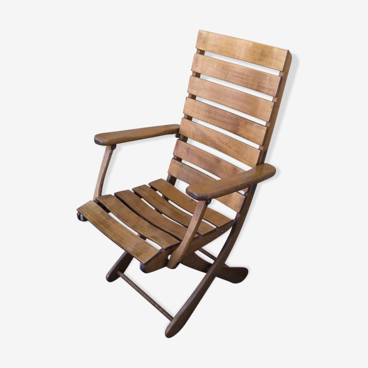 Fauteuil relax pliant de jardin en bois vernis bois Matériau