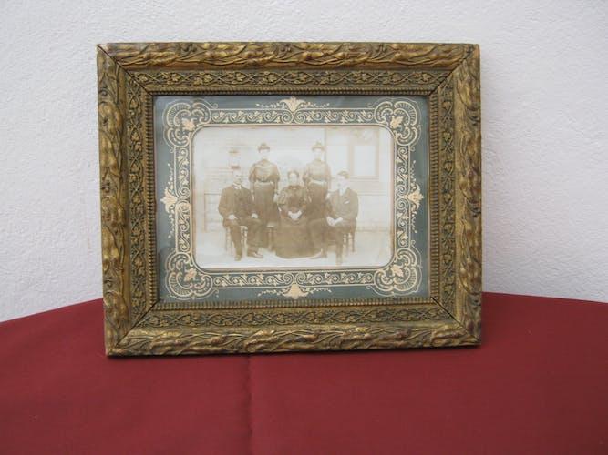 Cadre vintage avec ancienne photo de famille