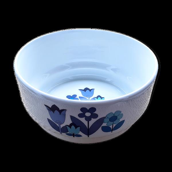 Saladier porcelaine fleurs vintage bleues