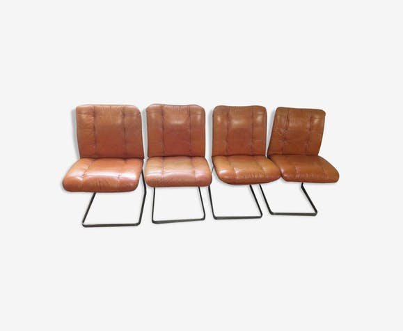 4 chaises roche bobois 1970 oranges cuir et alu bross cuir orange vintage ebbgxaz. Black Bedroom Furniture Sets. Home Design Ideas