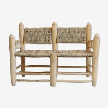 Bench moroccan in wood and rope