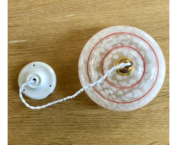 Suspension vintage et rosace en porcelaine