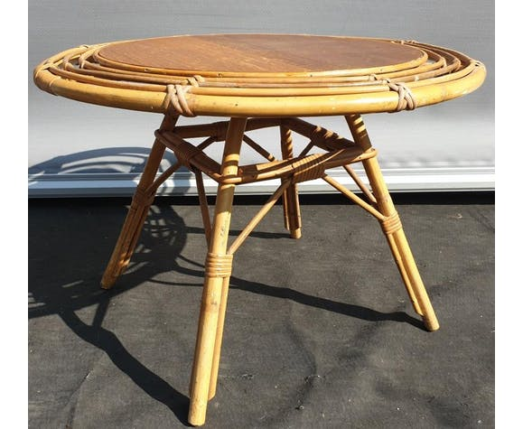 Table basse bambou et rotin vintage