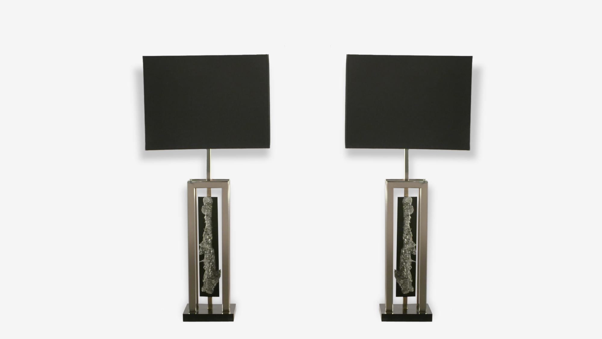 Paire de grandes lampes chrome et métal nickelé années 70