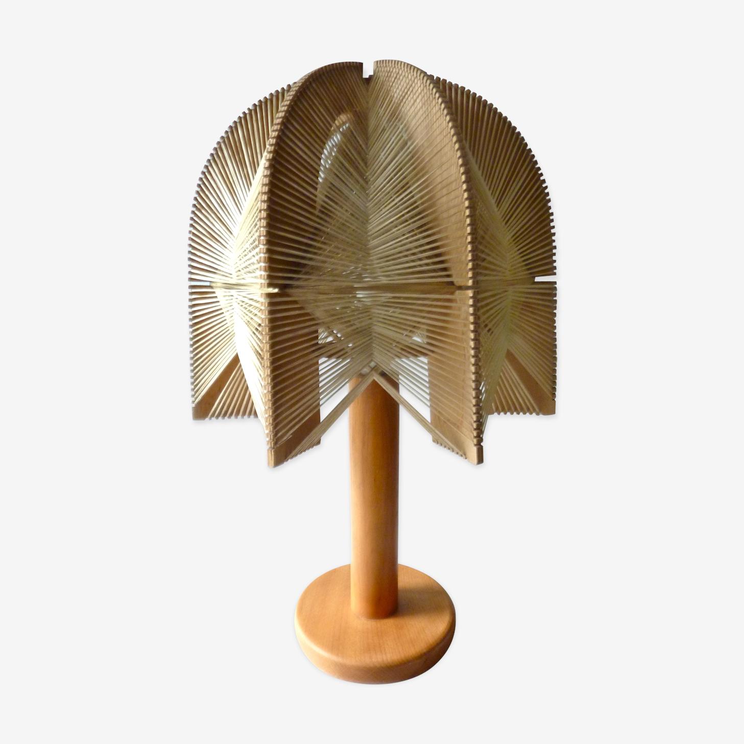 Lampe scandinave en bois et fils des années 60