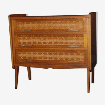 Dresser vintage in wood and rattan