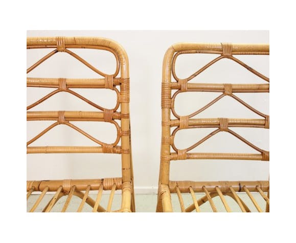 Set of 4 chairs rattan of the 1970s