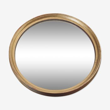 Golden round mirror in antique wood-39 cm diam