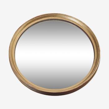 Miroir rond doré en bois ancien - 39 cm diam