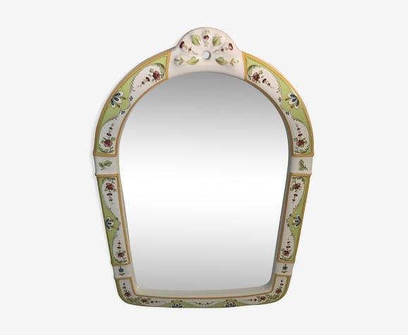Miroir Ancien Cadre Céramique Peinte Dessin Fleurs Vintage