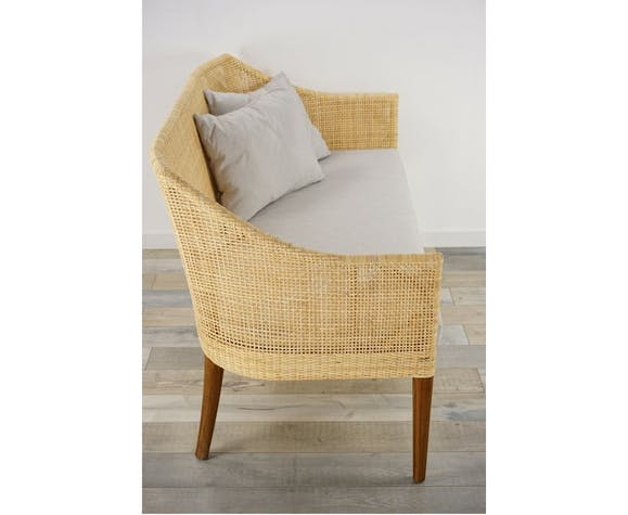 Wooden and rattan sofa