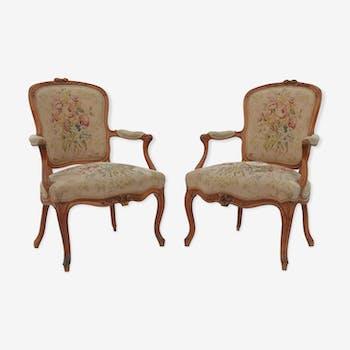 Paire de fauteuils cabriolet d'époque Louis XV par Jean-Baptiste Lebas