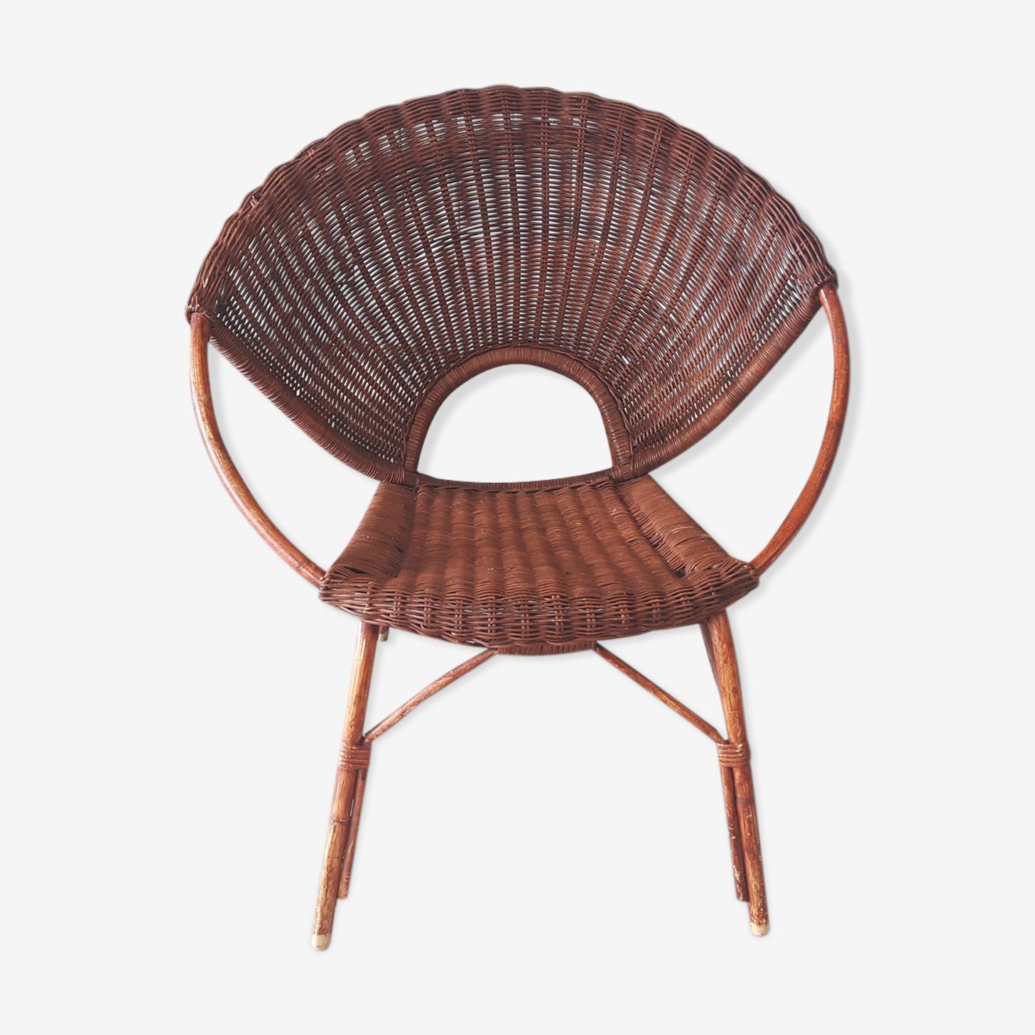 Rattan basket armchair