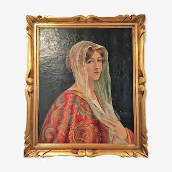 Portrait d'une jeune femme au foulard blanc
