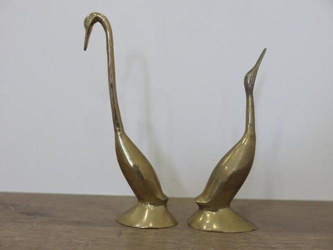 Paire de herons en laiton, années 70