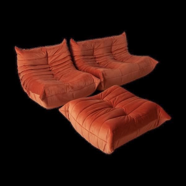 Canapé, chauffeuse et ottoman Togo de Michel Ducaroy pour Ligne Roset, velours orange