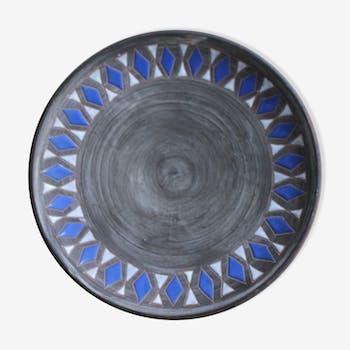 Assiette décorative en céramique d'art de Elie Barachant (1919-1993)