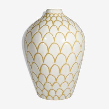 White enamelled soliflora vase, fish scale patterns, from Ioska 1960 Denmark
