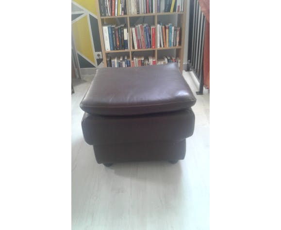 Pouf carré en cuir brun double assise