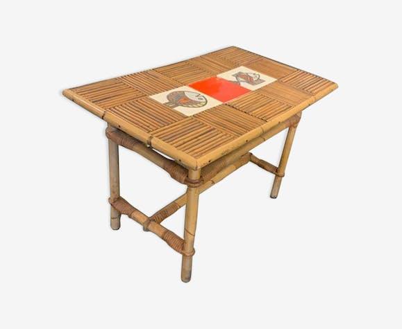 Table basse en rotin et céramique de Roger Capron