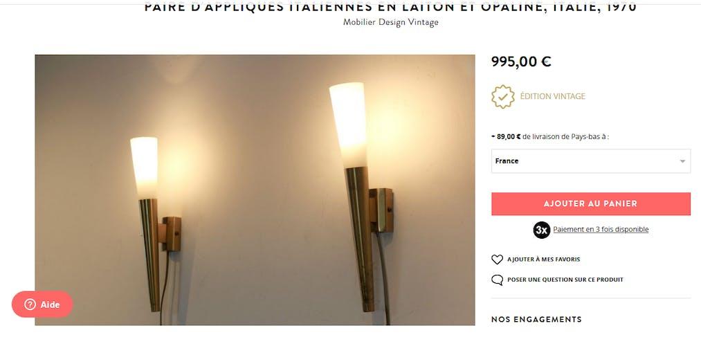 Paire d'appliques torchères design 50-60 laiton et opaline