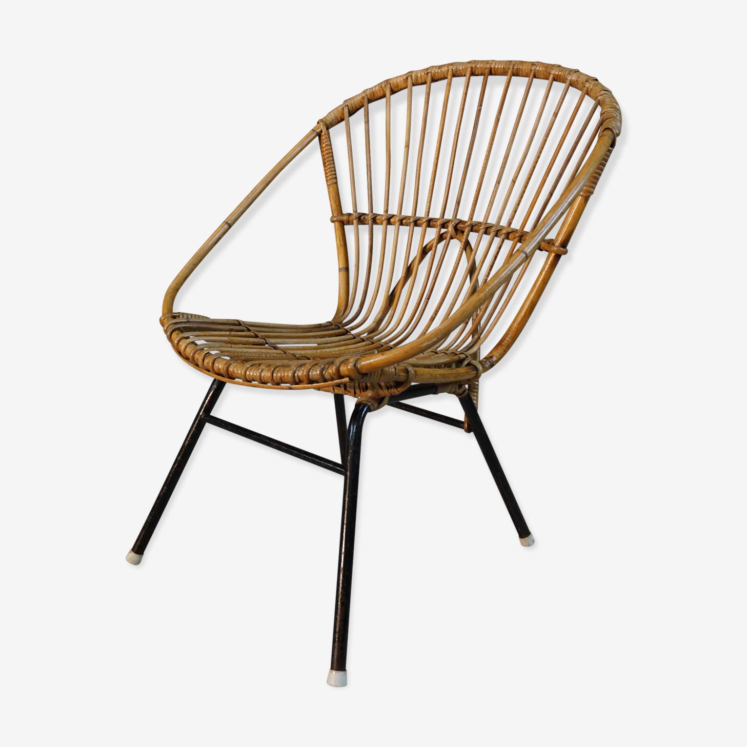 Fauteuil en rotin et mtal design années 60 Dirk Van Sliedregt pour Rohe Noordwolde