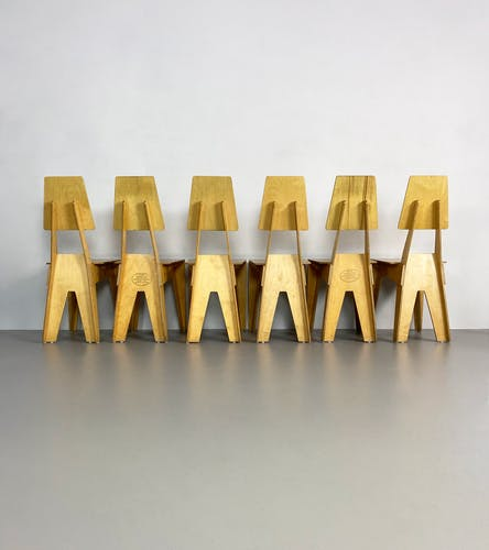 Lot de 6 chaises en contreplaqué postmodernes, Angleterre, vers 1990