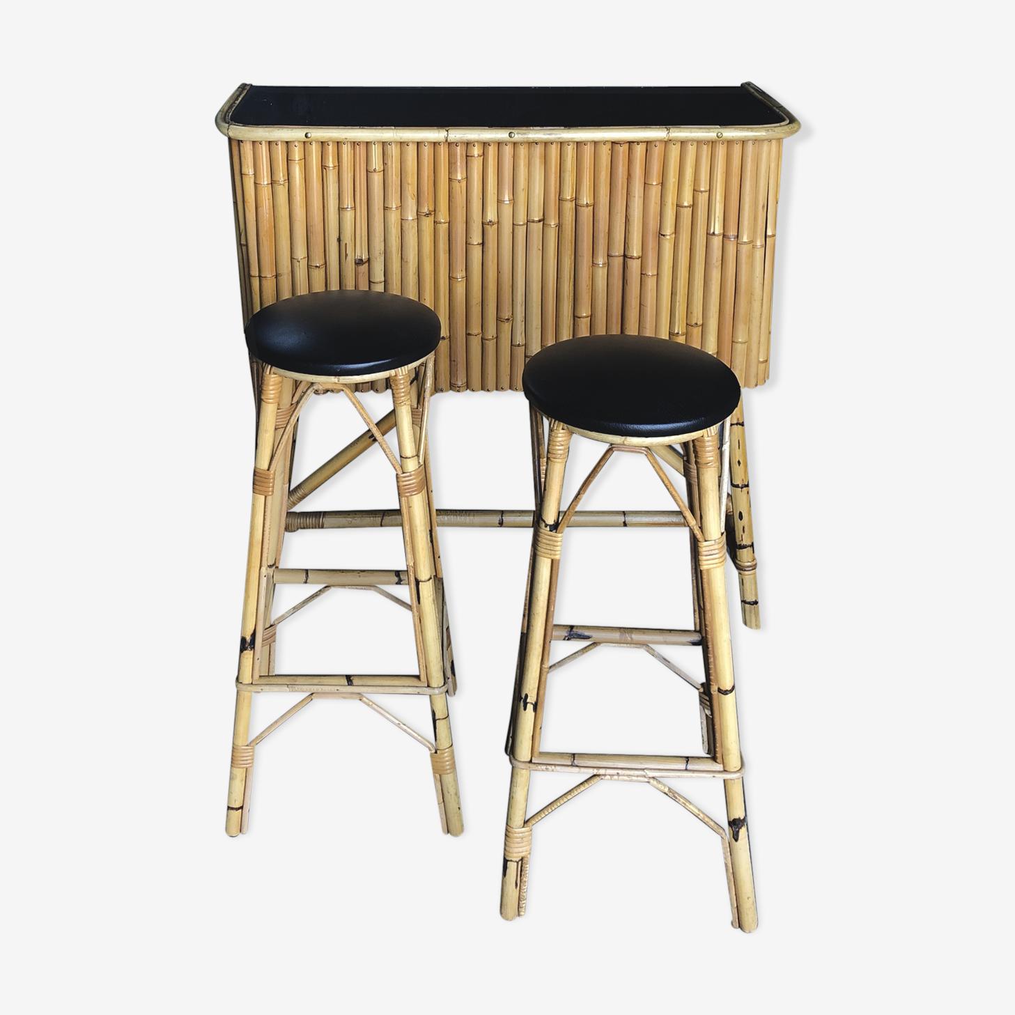 Bar et tabourets vintage en bamboo