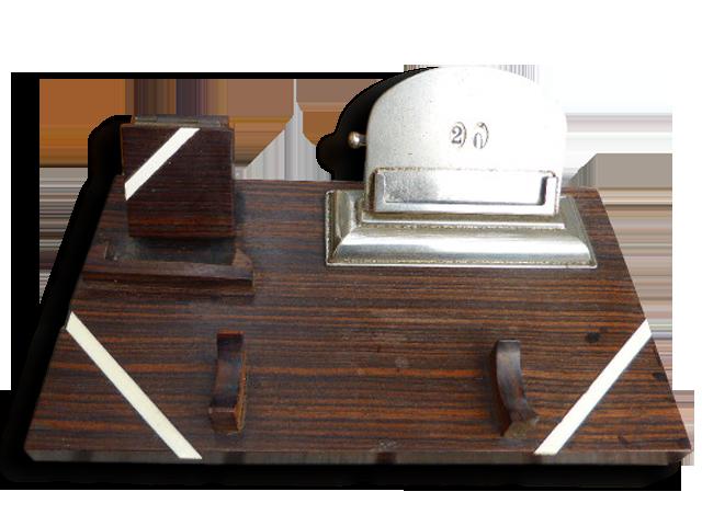 Organisateur de bureau en bois nacre et métal vintage