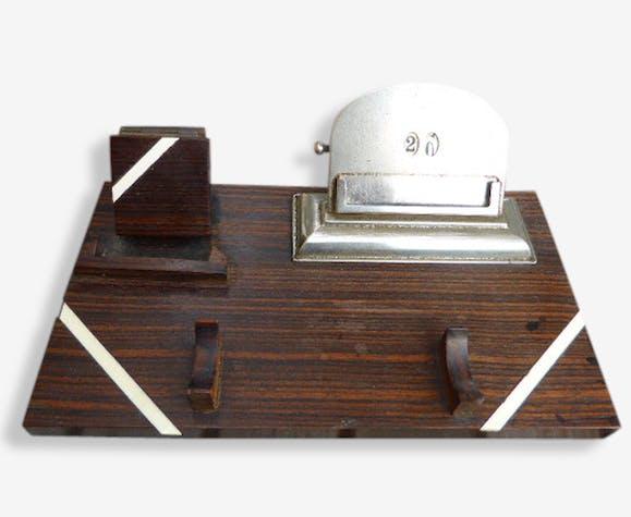 Organisateur de bureau en bois nacre et métal vintage 1950. bois