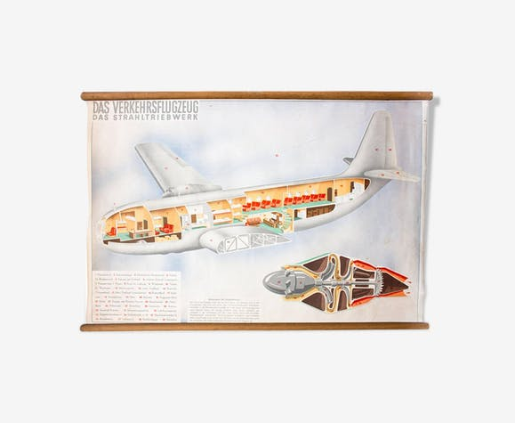 """Poster """"Airplane"""" educational grid 1952"""
