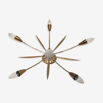 Plafonnnier en laiton moderniste italien de Spoutnik