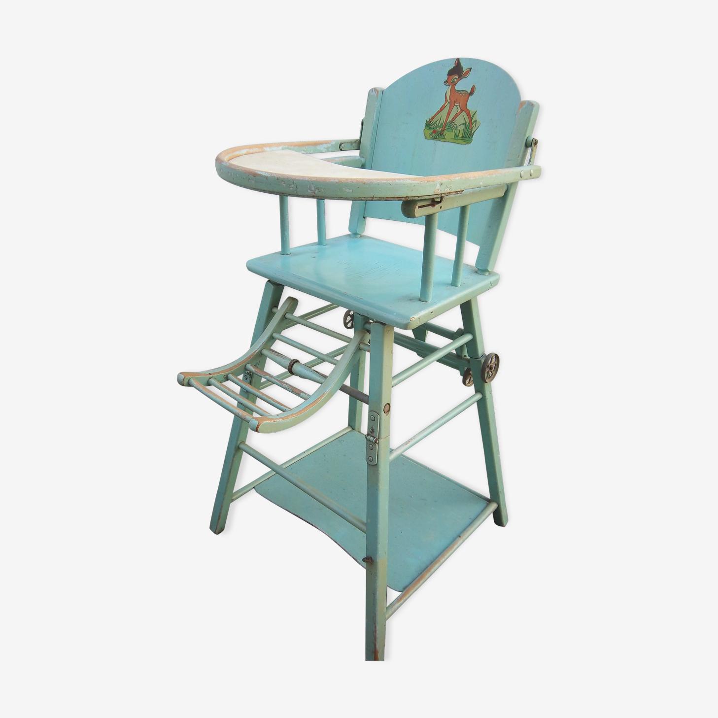 Chaise haute en bois pour bébé de 1950/1960 dans son jus