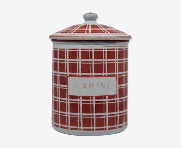 Red and white tiled flour ceramic pot
