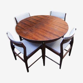 Ensemble table et 4 chaises palissandre de rio tissus neuf danemark